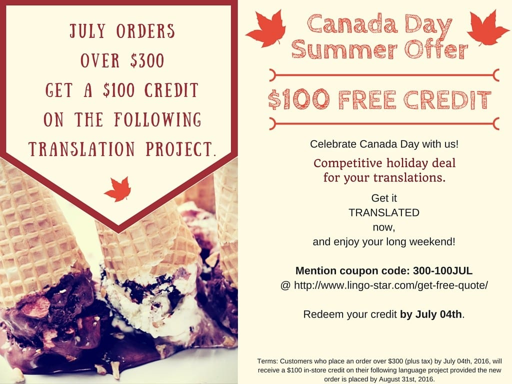 Canada Day Summer Offer$100 FREE CREDIT