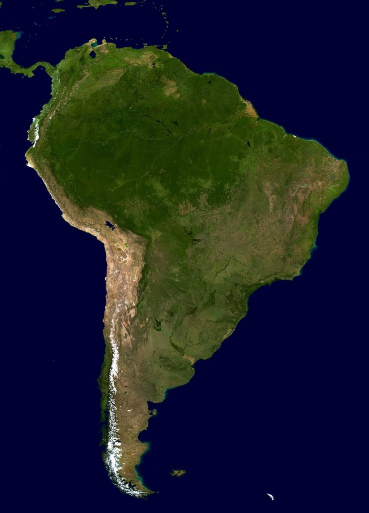 Satellite image of South America